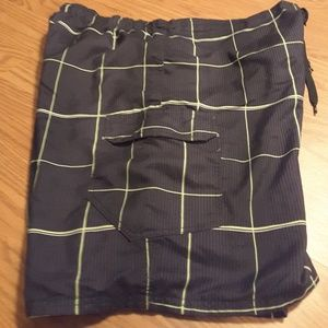 OP black yellow plaid board shorts size XL (40-42)